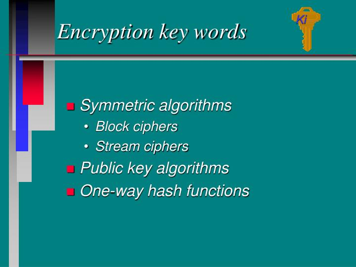 Encryption key words