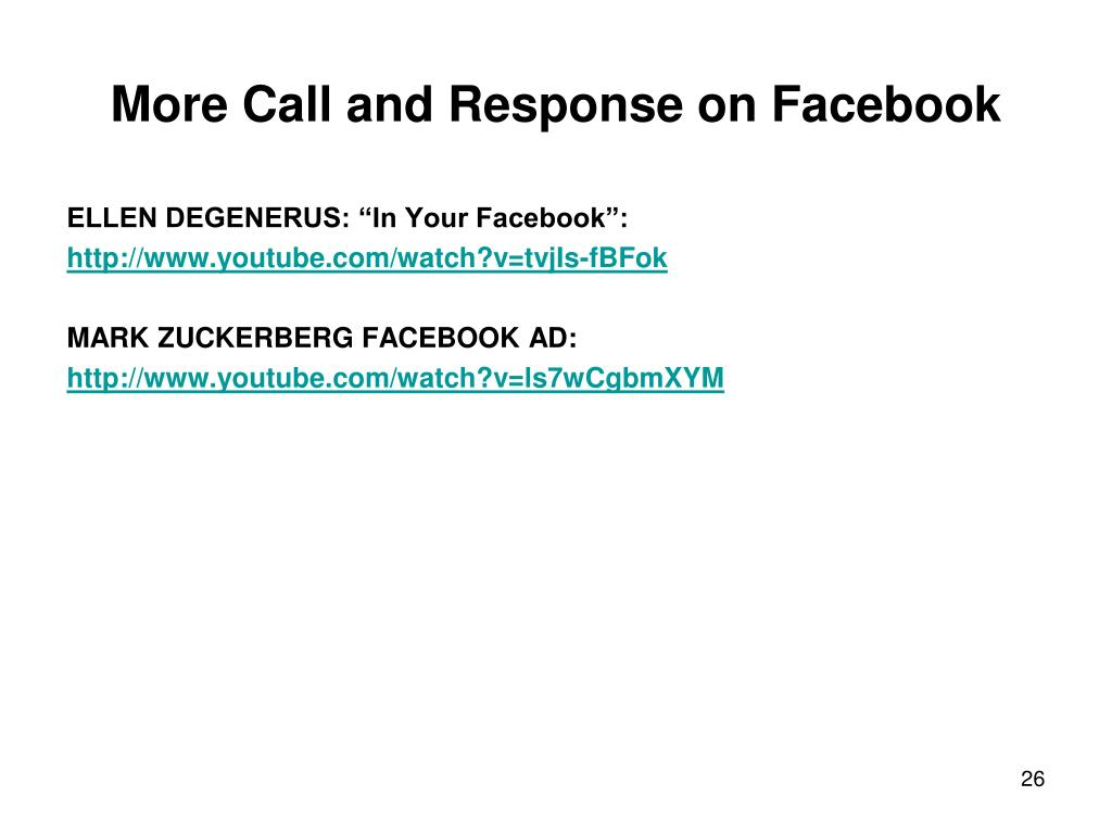 More Call and Response on Facebook