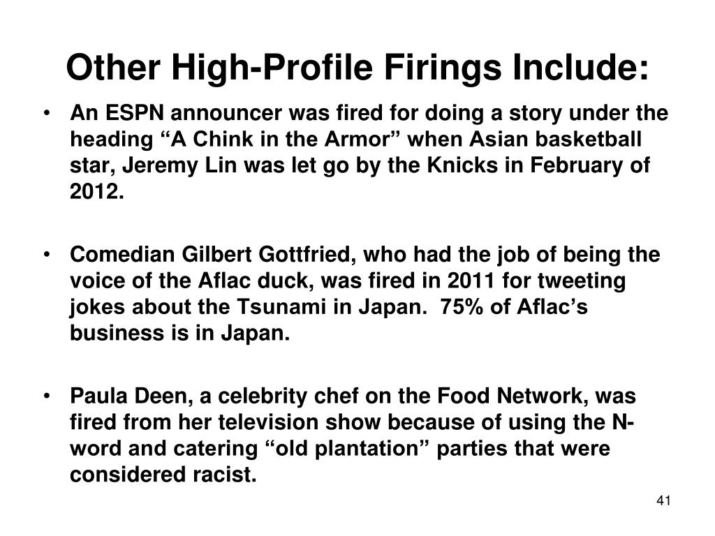 Other High-Profile Firings Include:
