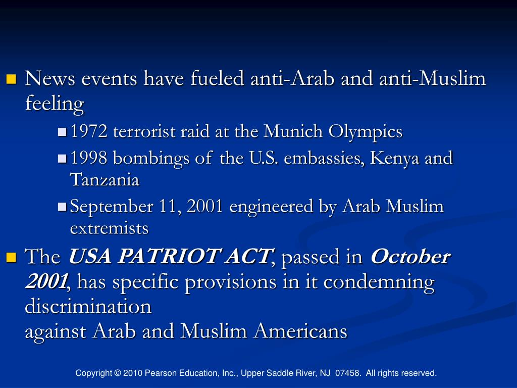 discrimination against muslims in the usa after 9 11 Prior to 9/11, the fbi recorded twelve years later, and this miasma continues to fester across europe, the united states and britain and a government slow to condemn acts of terrorism against its muslim citizens this is a remarkable and long-standing failure of public policy.
