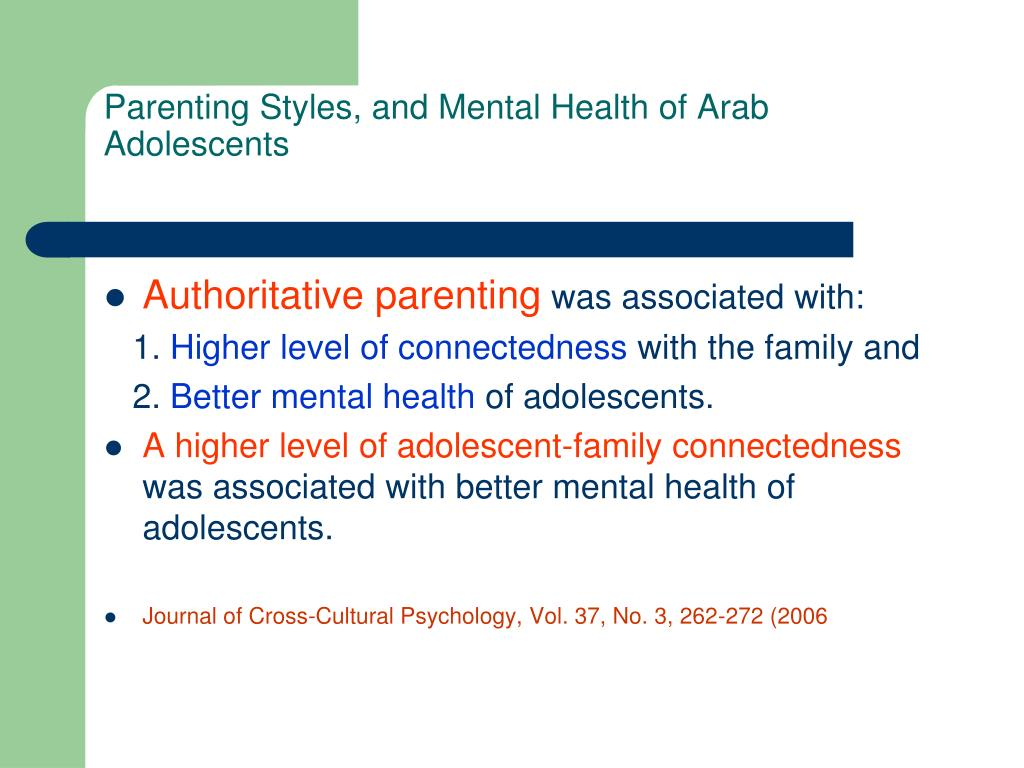 Parenting Styles, and Mental Health of Arab Adolescents