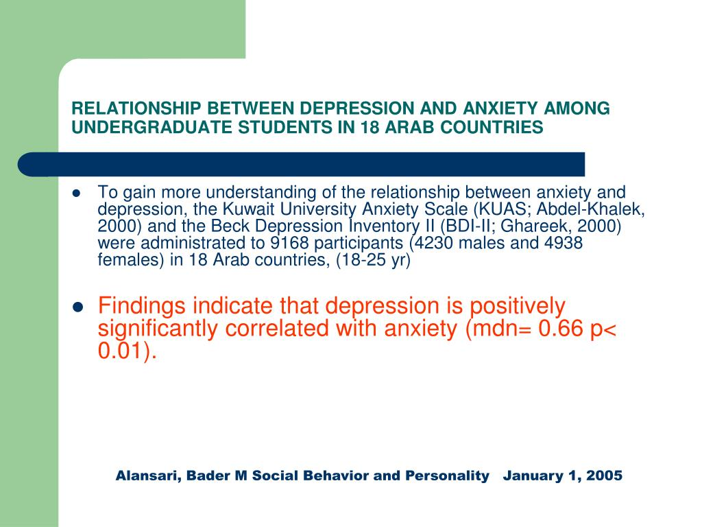 RELATIONSHIP BETWEEN DEPRESSION AND ANXIETY AMONG UNDERGRADUATE STUDENTS IN 18 ARAB COUNTRIES