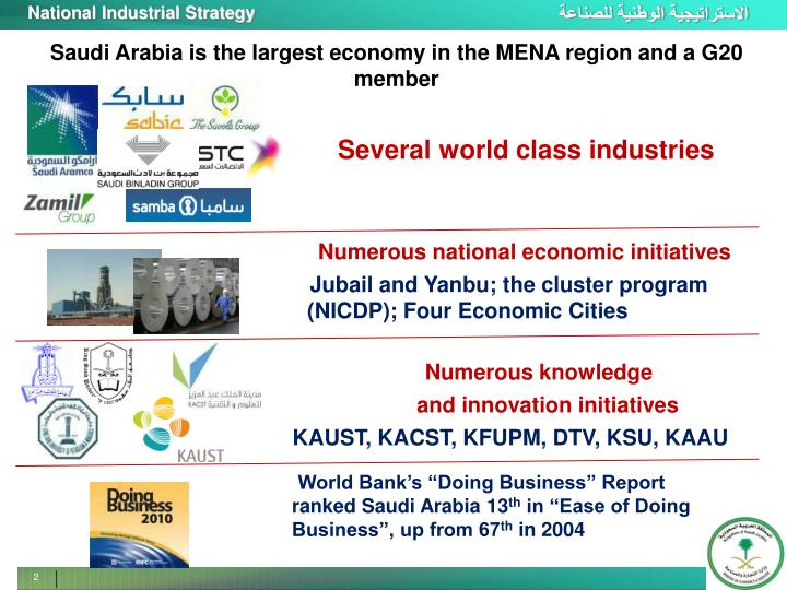 Saudi Arabia is the largest economy in the MENA region and a G20 member