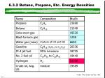 6 3 2 butane propane etc energy densities