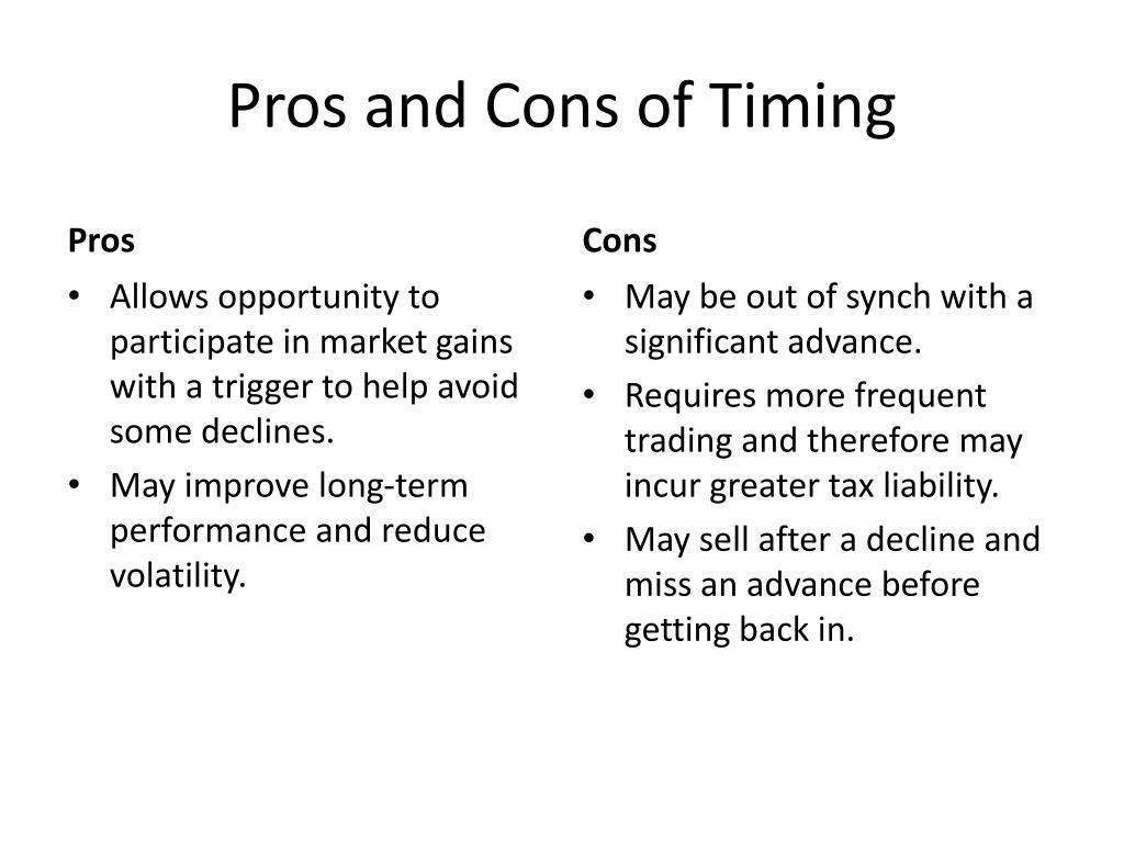 Pros and Cons of Timing