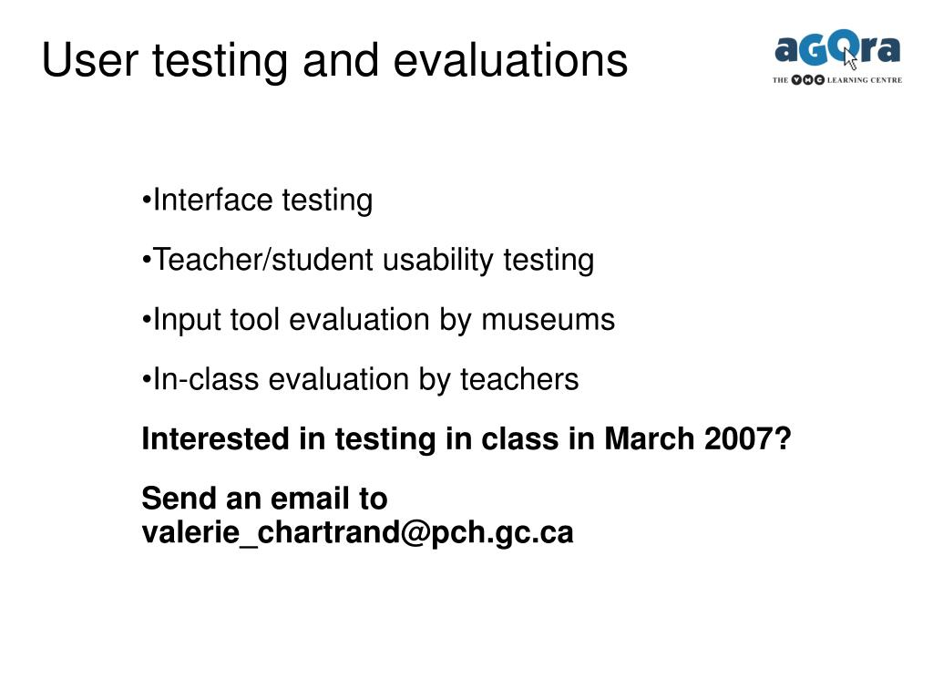 User testing and evaluations