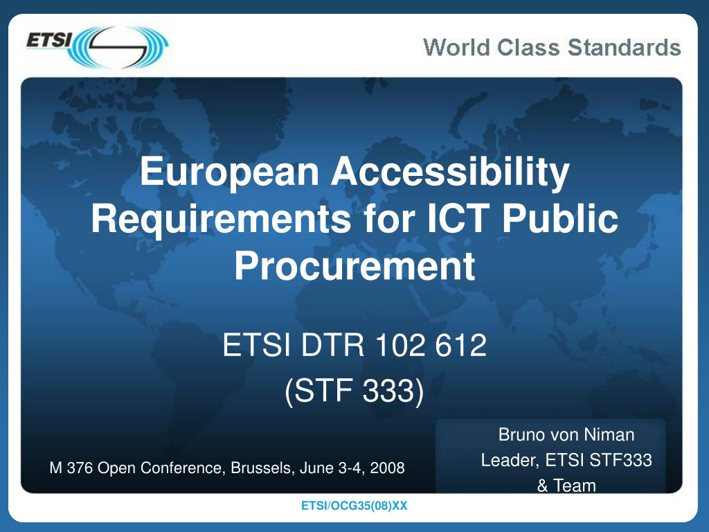 European Accessibility Requirements for ICT Public Procurement