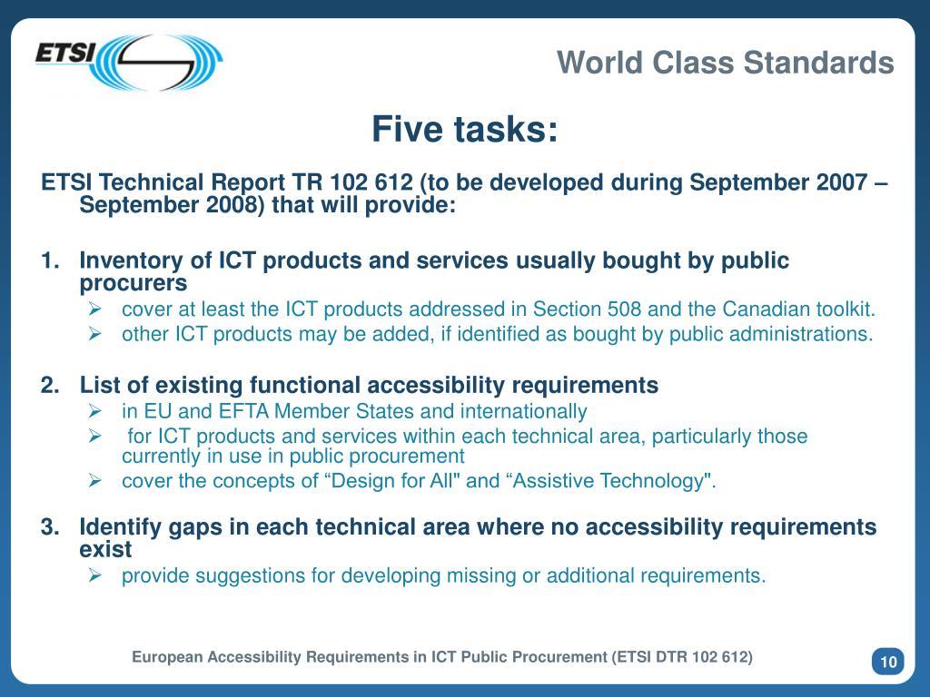 Five tasks: