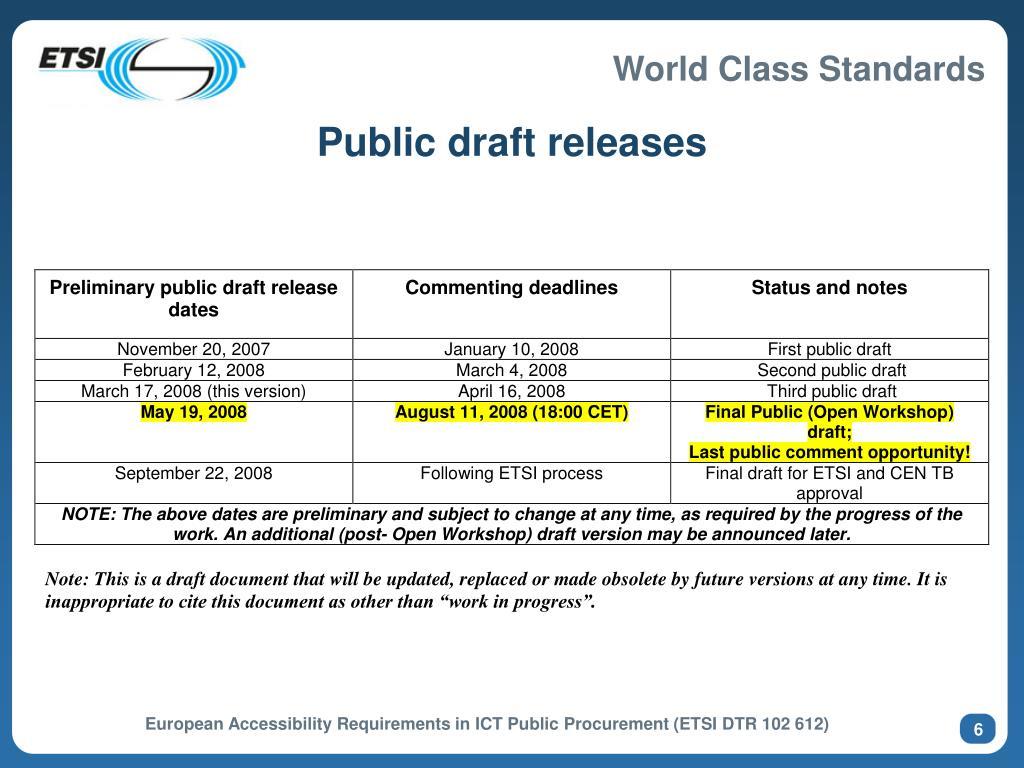 Public draft releases