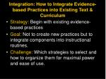 integration how to integrate evidence based practices into existing text curriculum