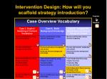 intervention design how will you scaffold strategy introduction