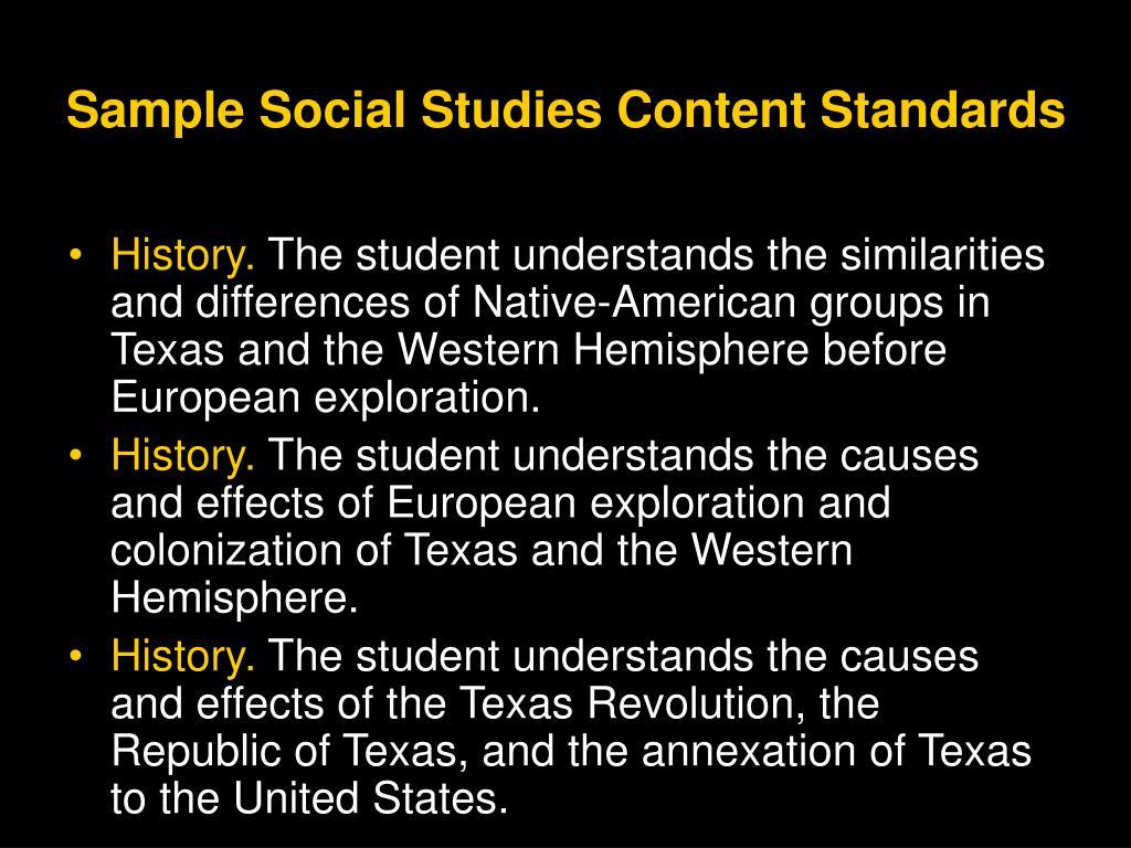 Sample Social Studies Content Standards
