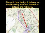 the path from design delivery to evidence may involve a number of detours and redirects