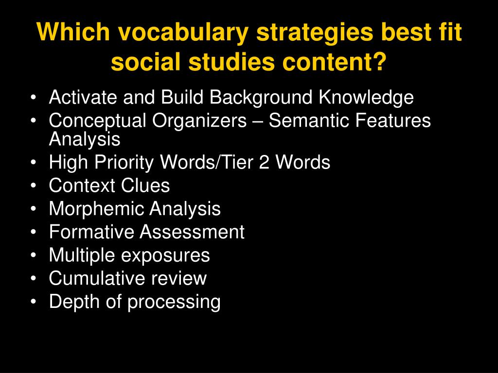 Which vocabulary strategies best fit social studies content?