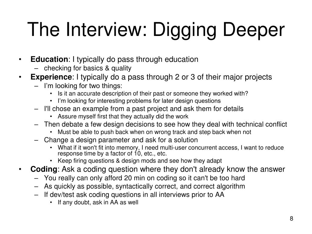The Interview: Digging Deeper
