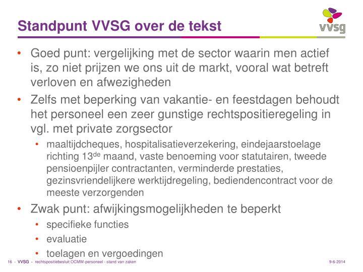 Standpunt VVSG over de tekst