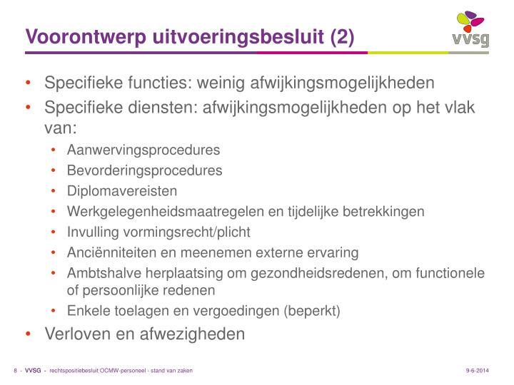Voorontwerp uitvoeringsbesluit (2)