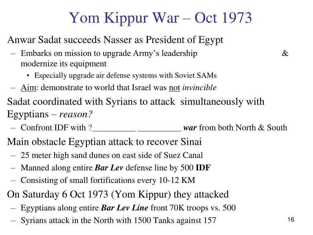 Yom Kippur War – Oct 1973