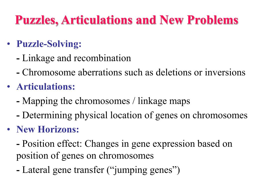 Puzzles, Articulations and New Problems