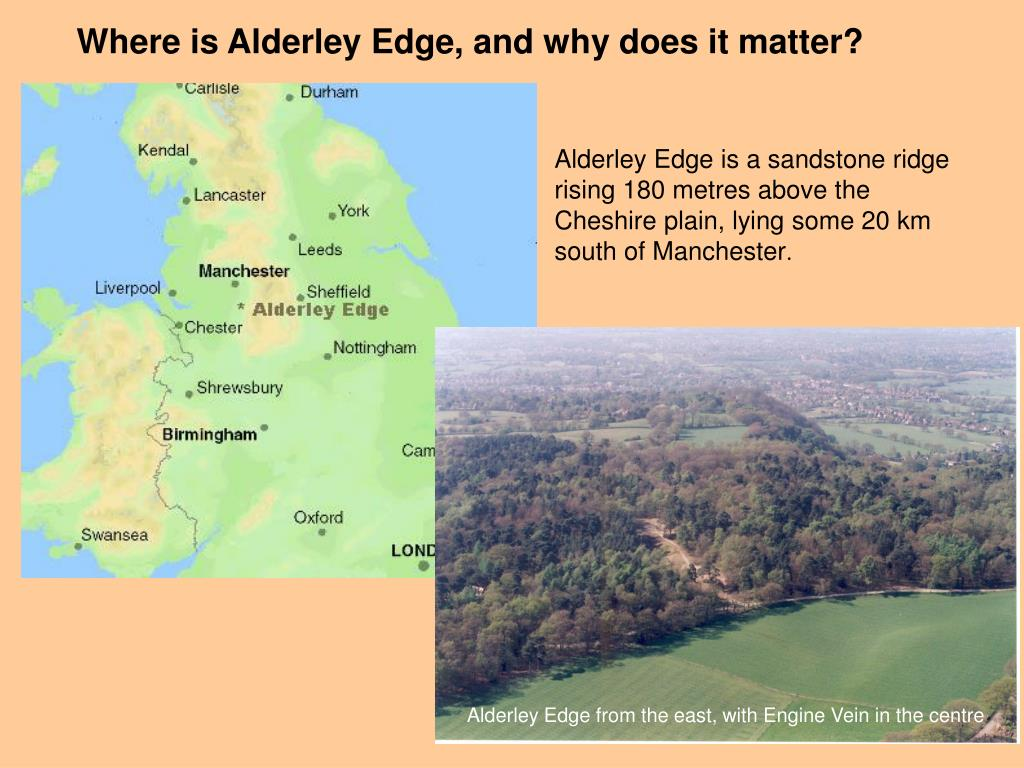 Alderley Edge from the east, with Engine Vein in the centre