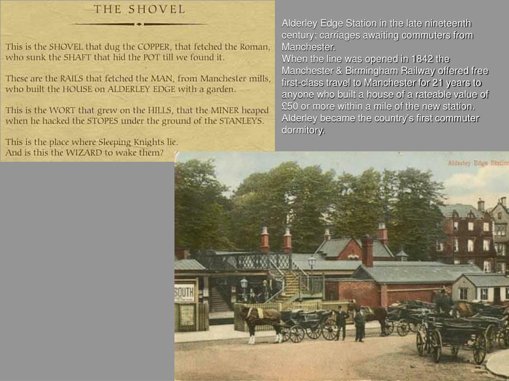 Alderley Edge Station in the late nineteenth century; carriages awaiting commuters from Manchester.