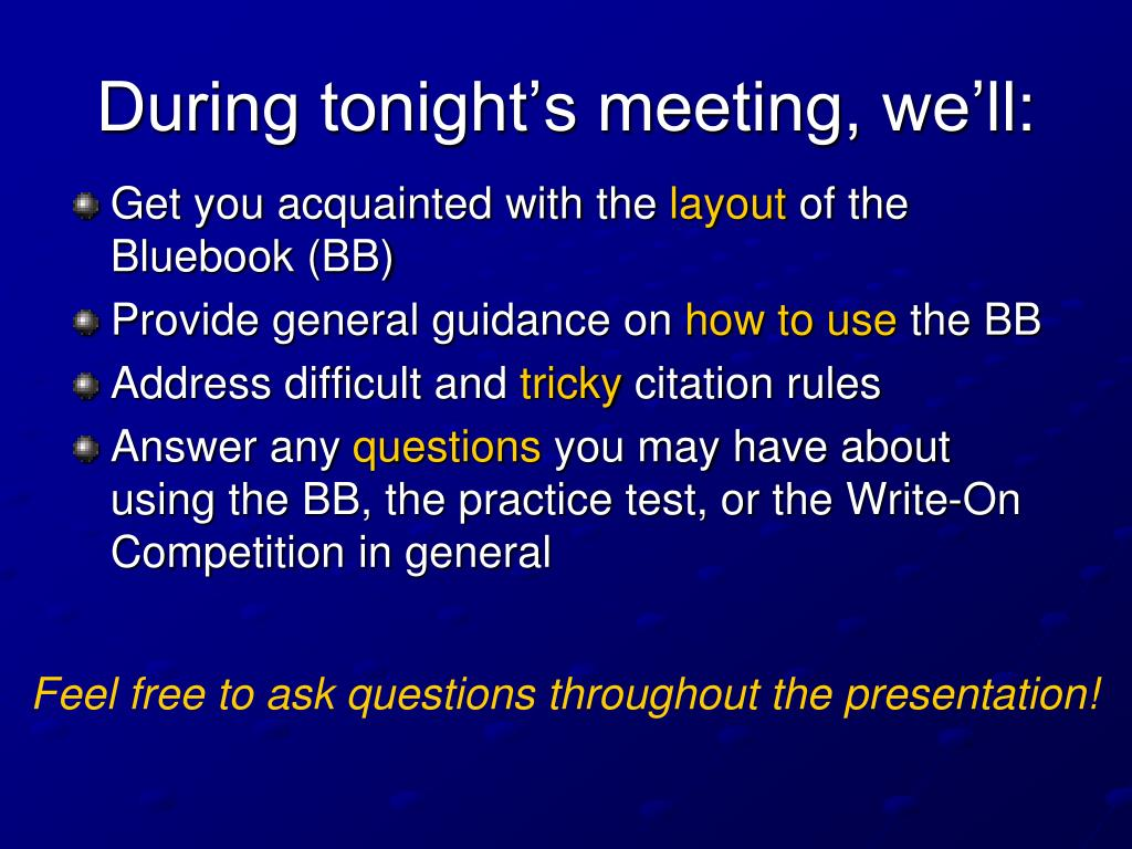 During tonight's meeting, we'll:
