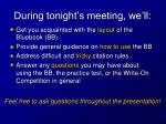 during tonight s meeting we ll