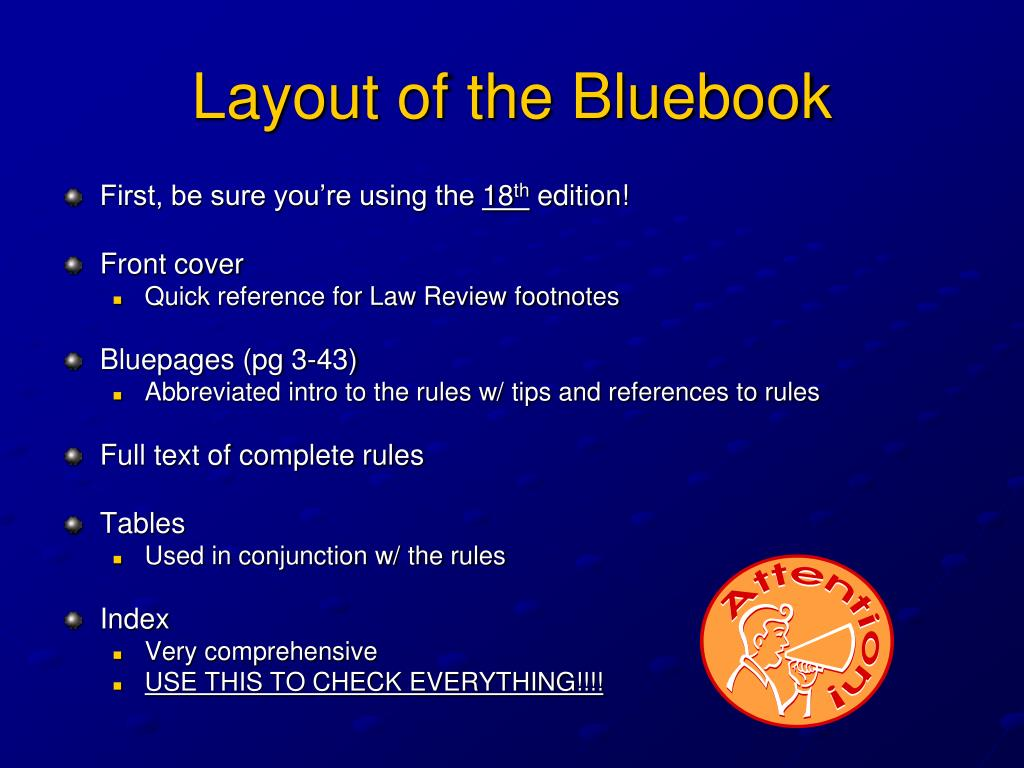 Layout of the Bluebook