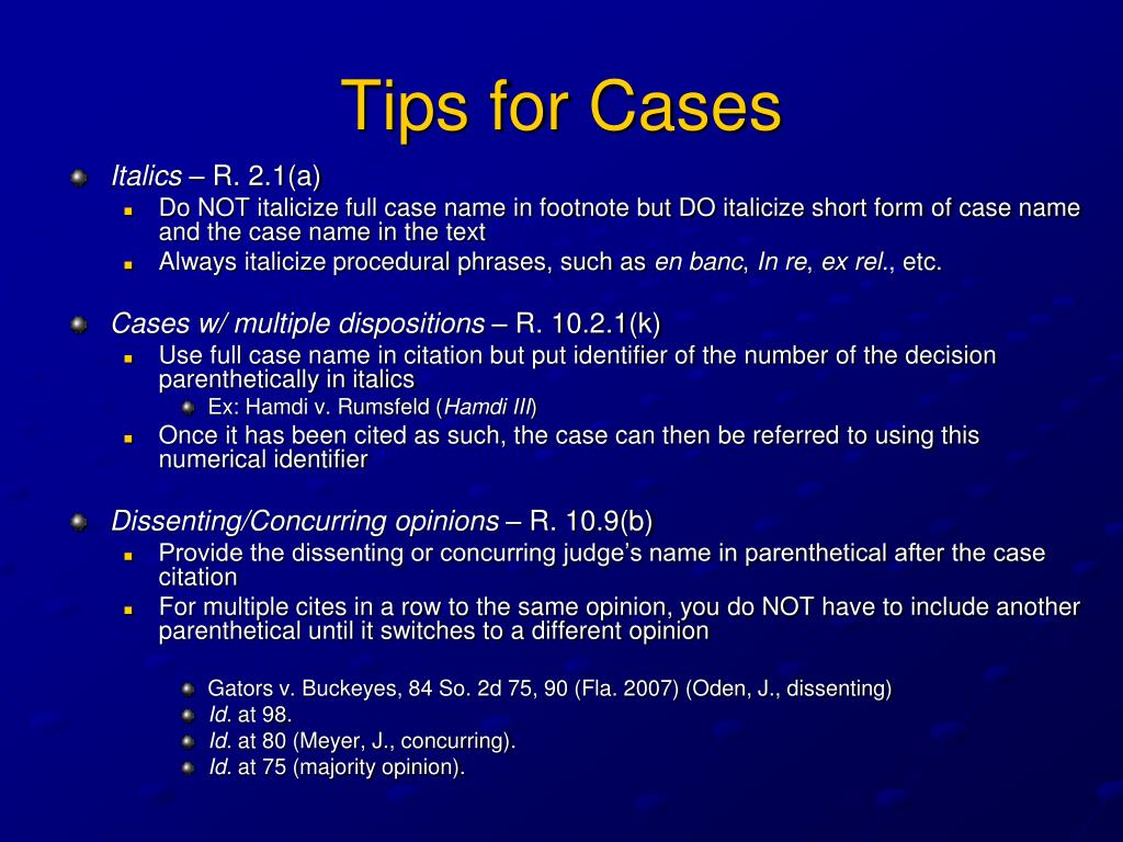 Tips for Cases