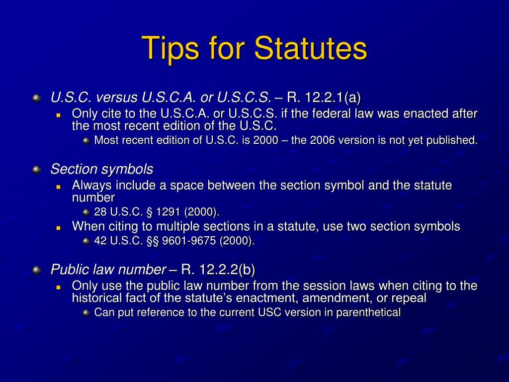 Tips for Statutes