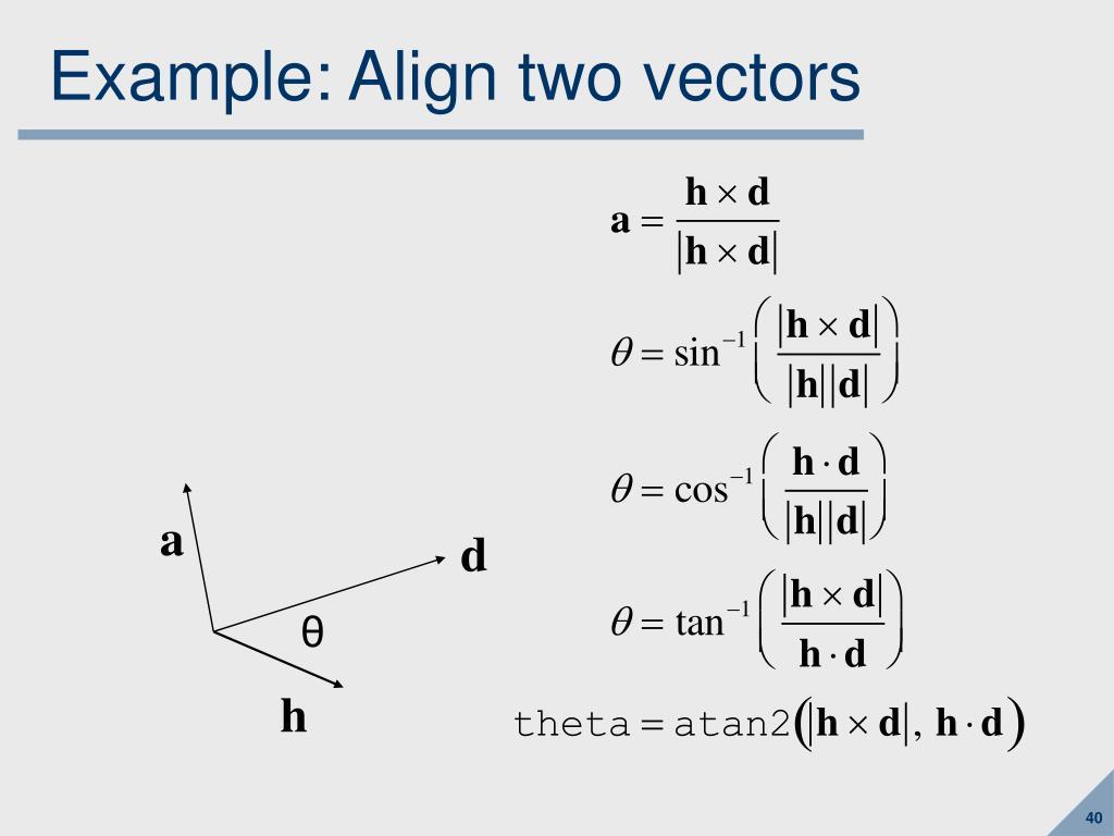 Example: Align two vectors