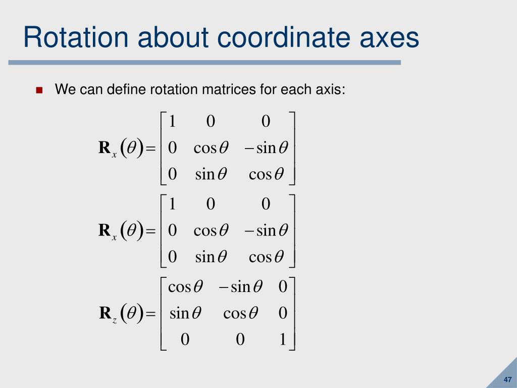 Rotation about coordinate axes