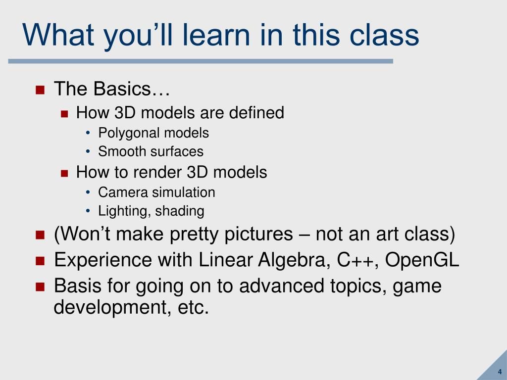 What you'll learn in this class