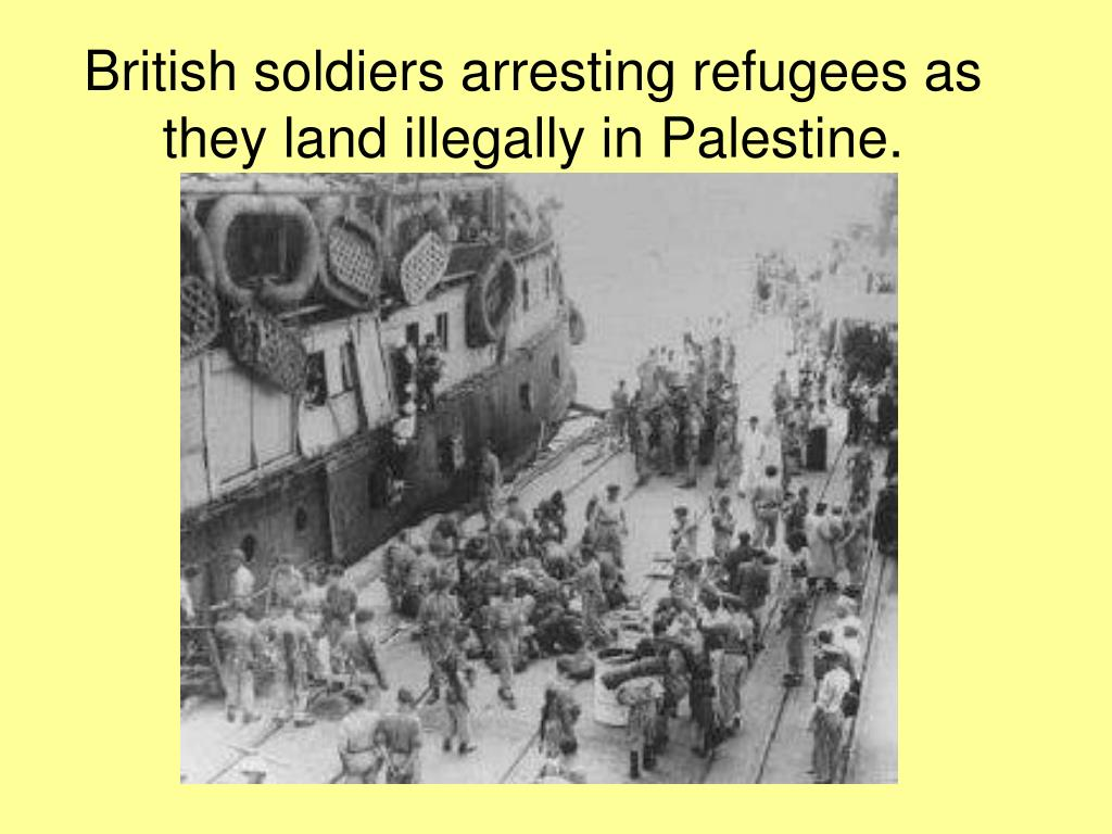 British soldiers arresting refugees as they land illegally in Palestine.