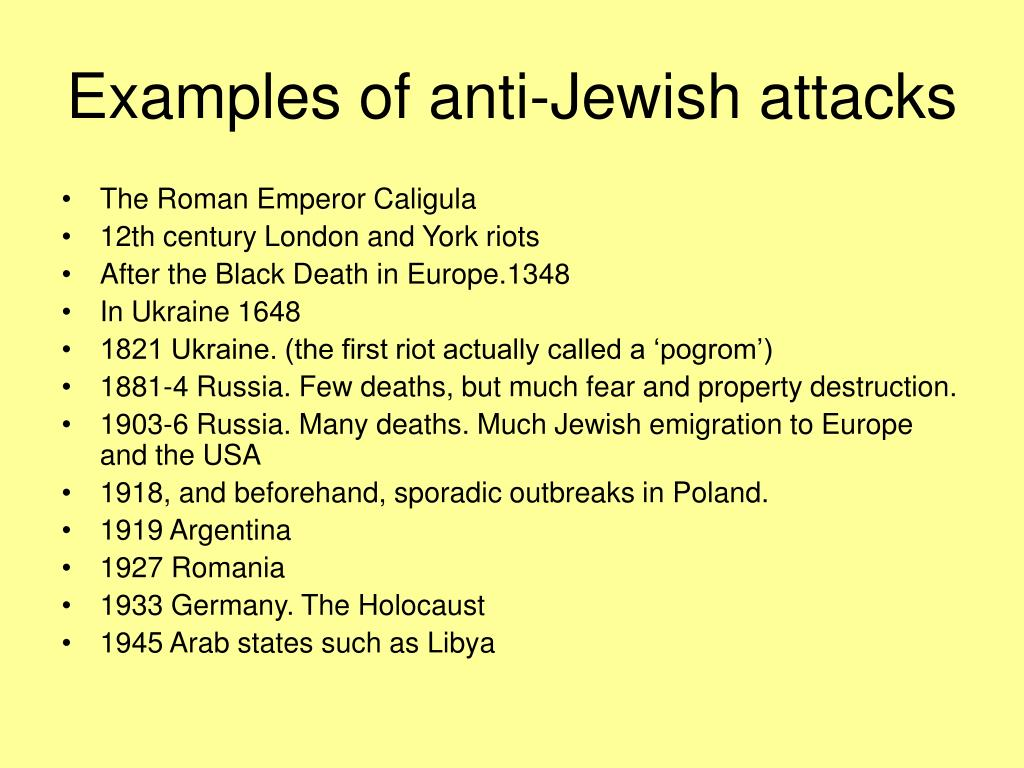 Examples of anti-Jewish attacks