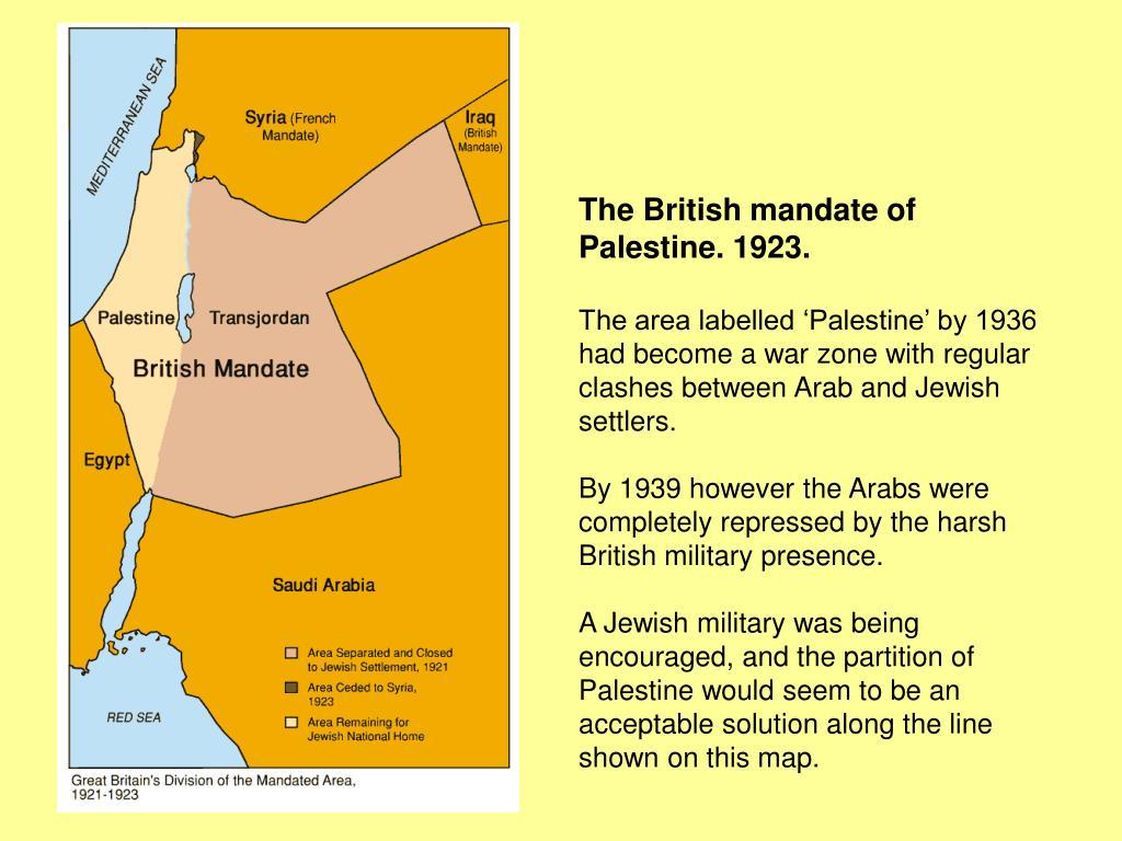 The British mandate of Palestine. 1923.
