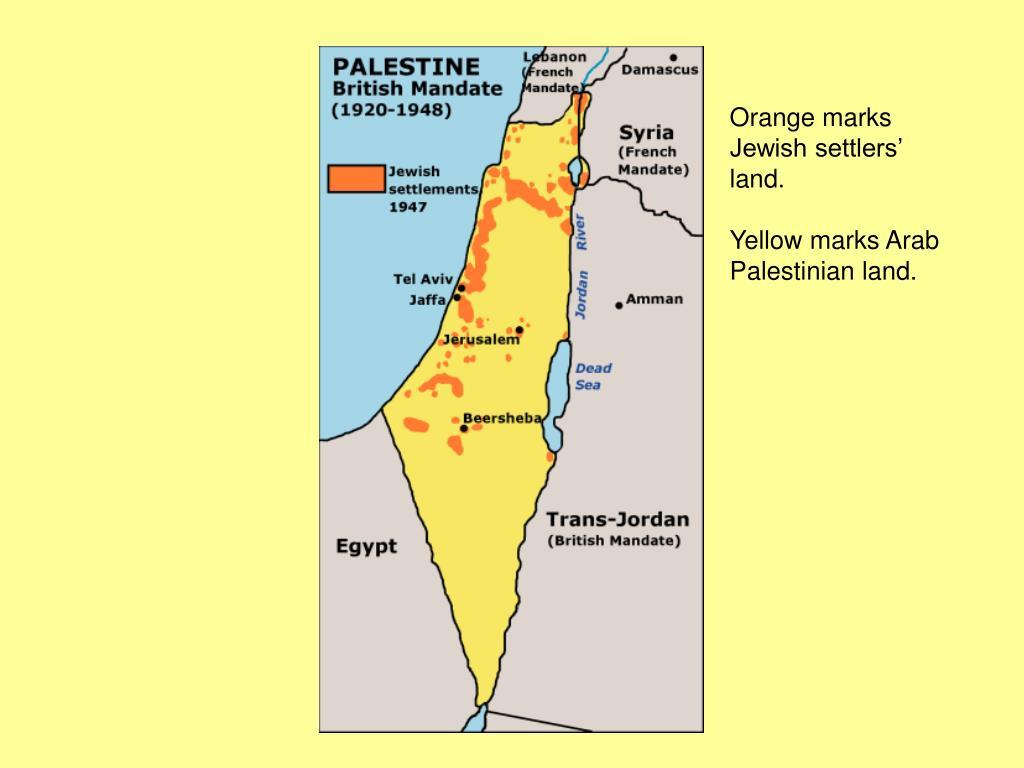 Orange marks Jewish settlers' land.