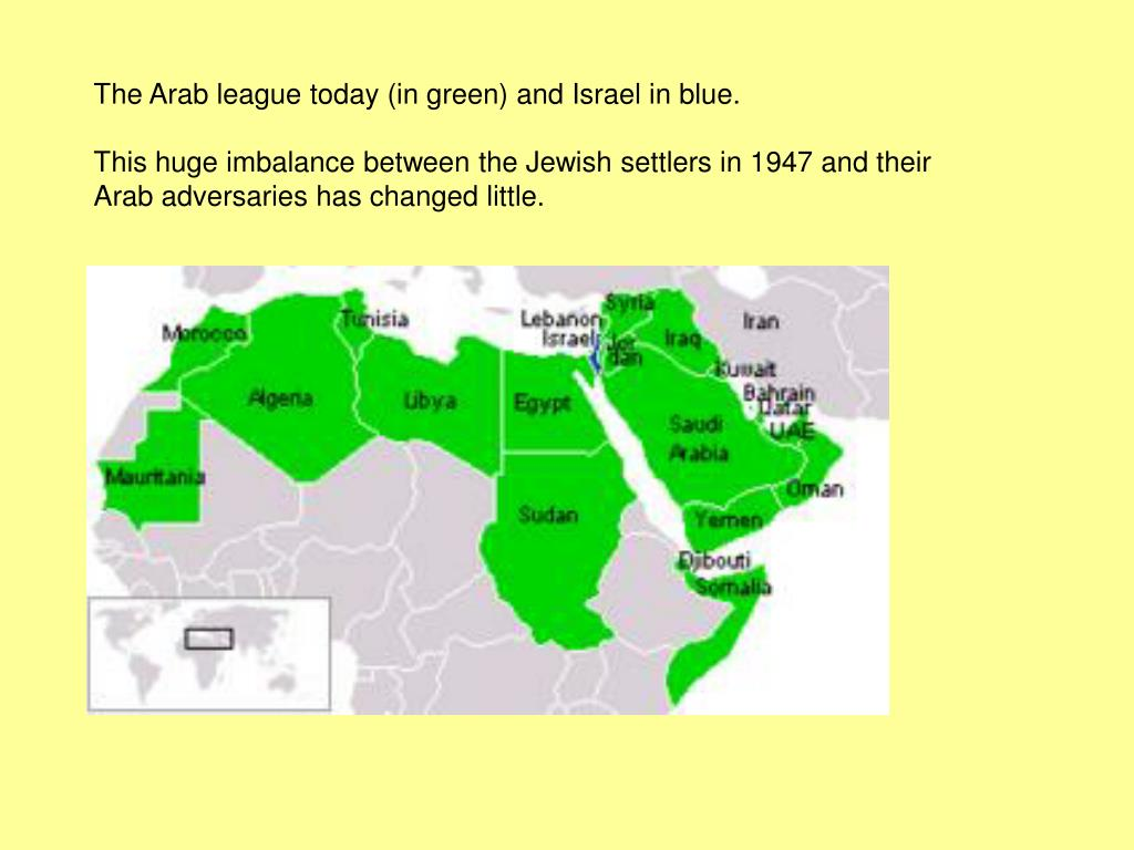 The Arab league today (in green) and Israel in blue.