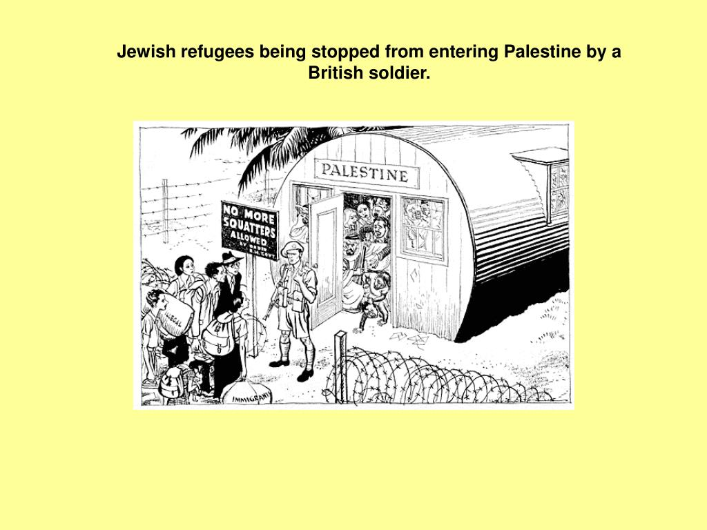 Jewish refugees being stopped from entering Palestine by a British soldier.