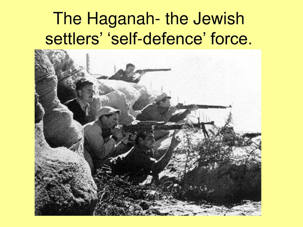 The Haganah- the Jewish settlers' 'self-defence' force.