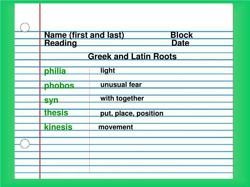 Name Root: Latin And Greek Root Words PowerPoint Presentation