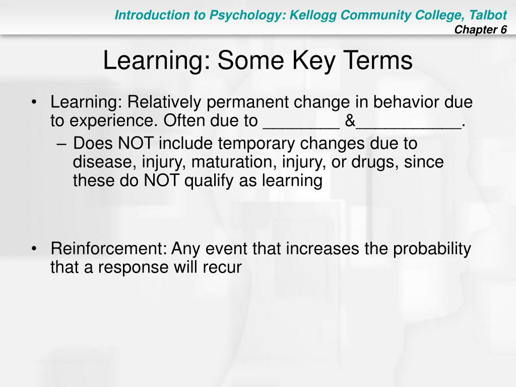 Learning: Some Key Terms