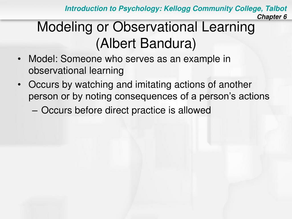 Modeling or Observational Learning (Albert Bandura)