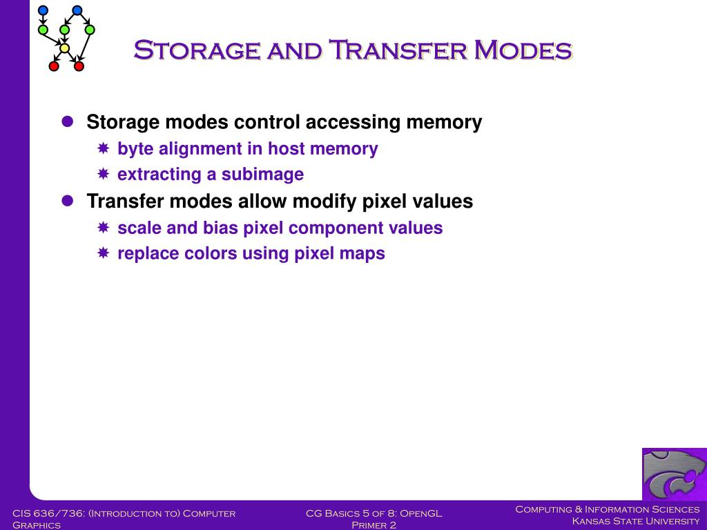 Storage and Transfer Modes