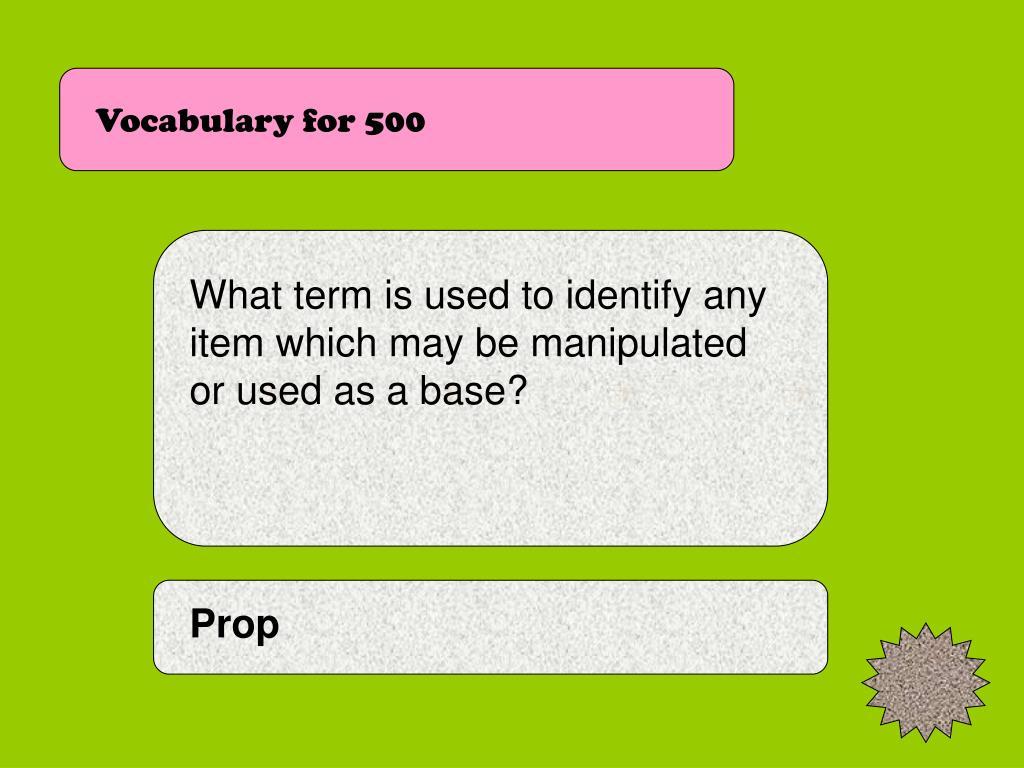 Vocabulary for 500