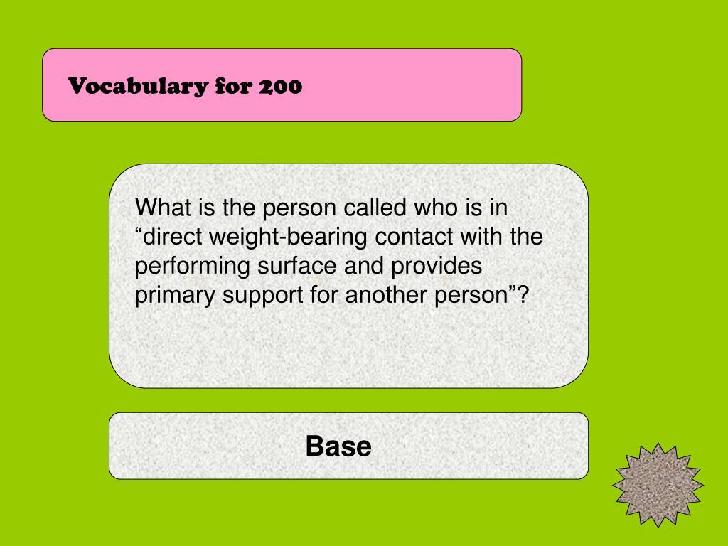 Vocabulary for 200