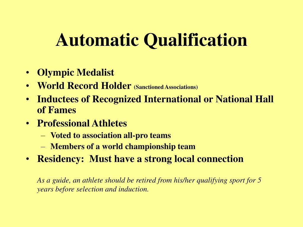 Automatic Qualification