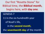 our first rosetta stone for biblical time the biblical month begins here with day one