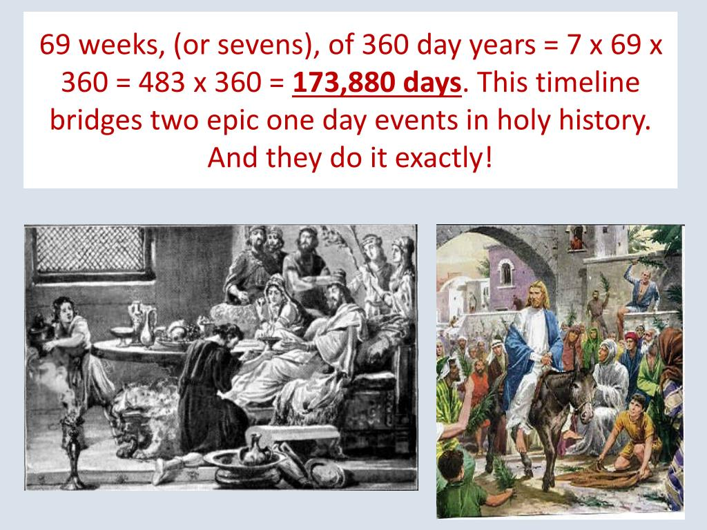 69 weeks, (or sevens), of 360 day years = 7 x 69 x 360 = 483 x 360 =