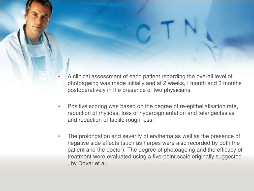 A clinical assessment of each patient regarding the overall level of photoageing was made initially and at 2 weeks, I month and 3 months postoperatively in the presence of two physicians.